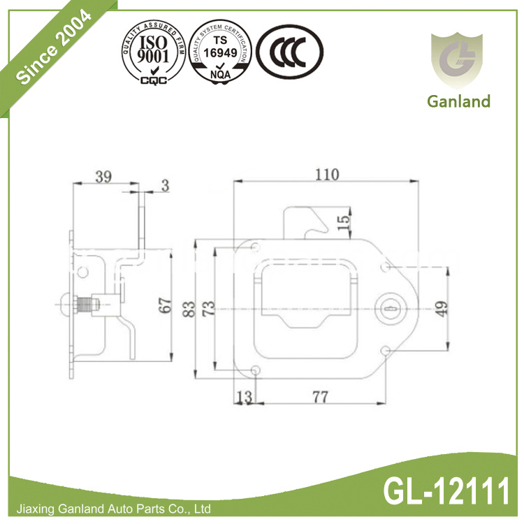 Toolbox paddle lock specification GL-12111