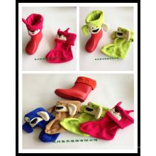 Winter Warm Thickened Kids Fleece Rainshoe Liner chaussettes en 4 couleurs