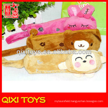 All kinds of color rectangle style plush pencil box with cute animal
