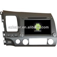 Android System lecteur dvd de voiture pour 2006-2011 Honda Civic avec GPS, Bluetooth, 3G, ipod, jeux, double zone, contrôle du volant