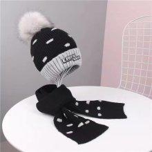 Chapéu de malha de inverno quente com velo para crianças