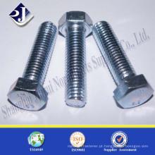 DIN 931 Carbon Steel Grade 10.9 parafusos hexagonais Nylok com zinco