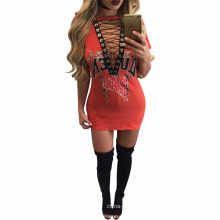 Wholesale Latest Designs Bodycon Pencil V Neck See Through Dress African Women Clothing Bazin