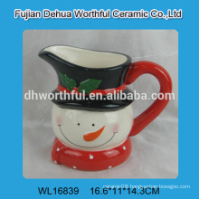 Cute snowman shaped ceramic water pot with handle