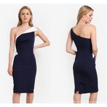 One Shoulder Dress in Colour Block