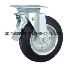 6 Inch Galvanized Bin Rubber Caster Wheel with Brake
