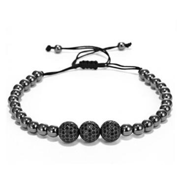 Anil Arjandas hommes Bracelets, 24 K or ronde perles & Micro Pave Black CZ perles une balle de perceuse 10mm