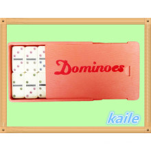Double 6 bunte Domino-Packung in Plastikbox