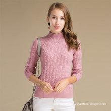 Suéter de encargo de las lanas del cachemira del punto del invierno de las señoras de Alibaba China con el modelo sólido