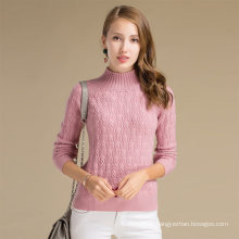 Alibaba China Custom Ladies Winter Knit Cashmere Wool Sweater With Solid Pattern
