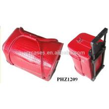 venda quente saco de cosmética do trole couro com padrão de crocodilo vermelho e 4 bandejas removíveis dentro