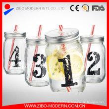 Trink-Glas-Abziehbild Glas-Maurer-Gläser mit Deckel und Stroh