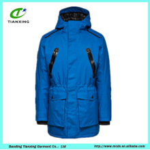 Outdoor insulated blue nylon men parka jacket