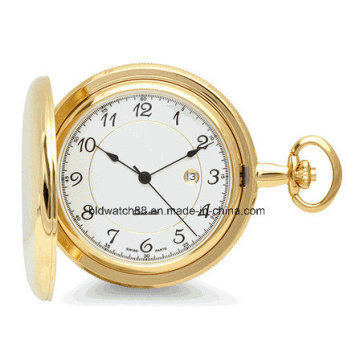 Heißer Verkauf Gravierte Gold Quarz Taschenuhr mit Kette