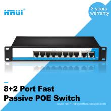 Prix usine 100M 8 + 2 ports pass commutateur passif pour caméra IP