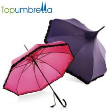 Uv Schutz Garten Regenschirme Frauen Regenschirm mit Spitze Sonnenschutz Sexy Damen gerade Rosa Vintage Regenschirme
