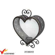 Antike Glas Metall Herz Kerze Laterne