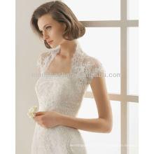 Tampão de pescoço alto Casaco Bolero Com decote sem alças Lace Frisado 2014 Mermaid Vestidos de noiva Vestidos NB010