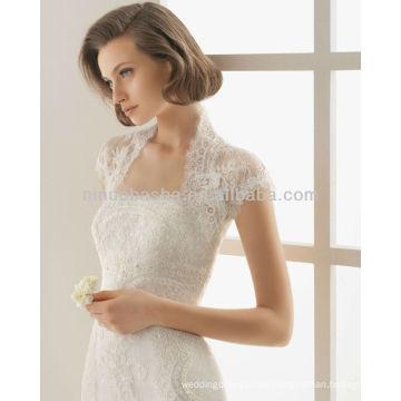 High Neck Cap Sleeve Bolero Jacke mit trägerlosen Ausschnitt Spitze Perlen 2014 Meerjungfrau Brautkleider Kleider NB010