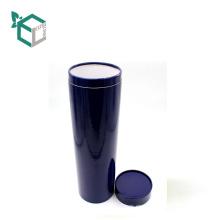 Hoja en caliente de encargo del logotipo del papel azul que sella la caja de tubo de papel redonda