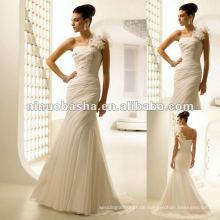 Atemberaubende Chiffon Gerade Ausschnitt Meerjungfrau-Stil Brautkleid