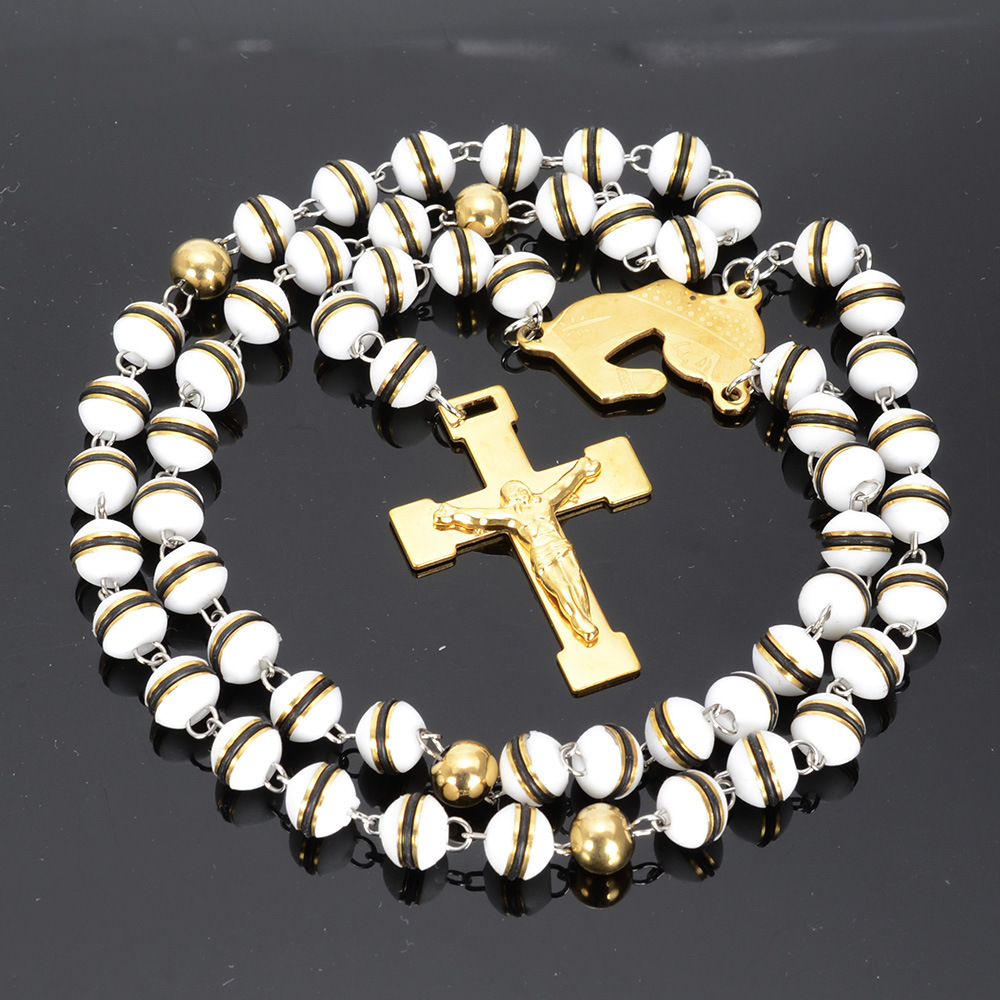Cross Silicon Rosary Bead Chain Catholic Rosaries Necklace