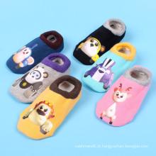 Crianças crianças algodão tornozelo meias com padrão de impressão (ka201)
