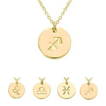 Letra inglesa personalizada grabado collar Zodiac Horóscopo oro disco collar