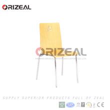 Silla de restaurante de madera curvada de acero cromado OZ-1019