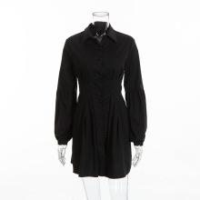 Robe plissée rouge à manches longues pour femmes Robe de soirée et de travail