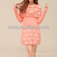 13STC5664 neuesten Design Damen Crewneck aus Schulter Pullover Kleid