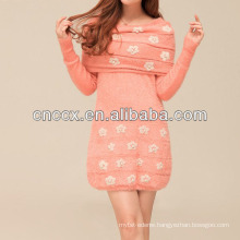 13STC5664 latest design ladies' crewneck off shoulder sweater dress