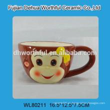 Copas de cerámica de la leche del diseño encantador del mono