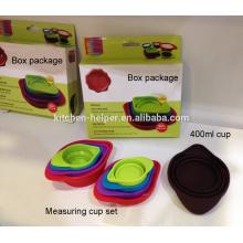 FDA продовольственной категории жаропрочных Кухонные инструменты Складной силиконовый мерный стакан Набор 60/80/125/250/400 мл
