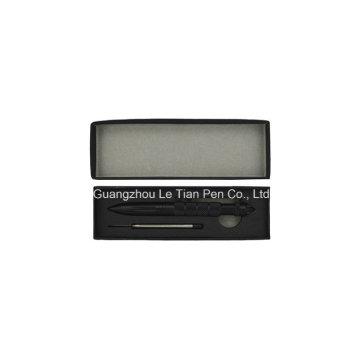 Черное перо Pen Пластиковая резиновая шариковая ручка Click Cheap Pen Box