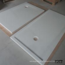 Base de douche acrylique de pierre de surface solide blanche / bac de douche en pierre de fonte