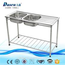 Banc d'évier de cuisine à double vasque d'Israël / Restaurant Table de travail à évier en acier inoxydable avec tablette