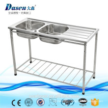 Israel Double Bowl Kitchen Sink Bench/Restaurant Stainless Steel Sink Work Table with Under Shelf