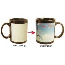Negro gres de cerámica de color cambiar taza (003)