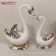 Decoração de casamento de estátua de cisnes de resina para favores