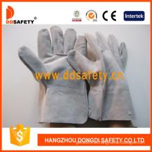 Guantes de cuero divididos de vaca gris, guantes de trabajo de soldador sin forro (DLW602)