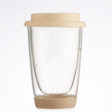 reusable glass coffee cup with silicone lid