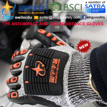 Cut-Resistance und Anti-Impact TPR Handschuhe, 13G Hppe Shell Cut-Level 5, Nitril Schaum Palm beschichtet, Anti-Impact TPR auf Back Mechanic Handschuhe