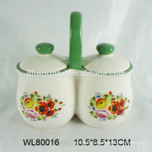 Doble hierba y herramientas de especias con mango grande en diseño de la calcomanía de la flor