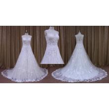 Vestido de novia apliques de encaje sin mangas