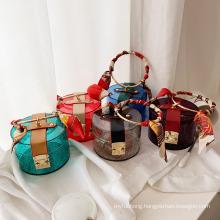 Fashion Jelly Acrylic Handbags PVC Purse Jelly Handbags Round Metal Jelly Bags