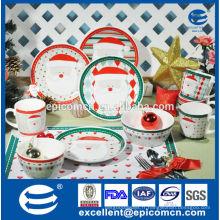 Jolies plaques de dinde de porcelaine de Santa Long, tasses et bols, porcelaine de Noël