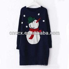 13STC5478 Top Pullover Schneemann Jacquard Pullover Kleid Weihnachten
