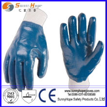 Knit wrist blue nitrile full coated cotton interlock liner nitrile gloves