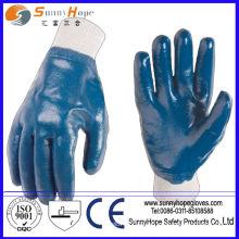 Punho de malha azul nitrilo revestido completamente algodão entrelazado luvas de nitrilo